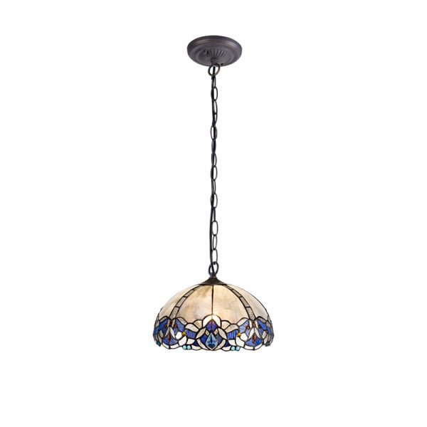 Lichfield Lighting Oricle 1 Light Downlight Pendant E27 With 30cm Tiffany Shade, Blue/Clear Crystal/Aged Antique Brass photo 1