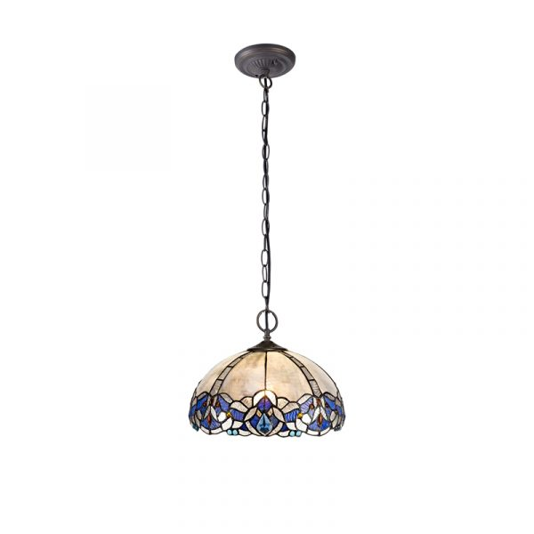 Lichfield Lighting Oricle 2 Light Downlight Pendant E27 With 30cm Tiffany Shade, Blue/Clear Crystal/Aged Antique Brass photo 1