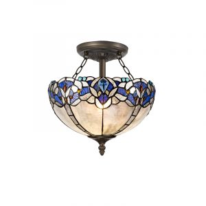Lichfield Lighting Oricle 2 Light Semi Ceiling E27 With 30cm Tiffany Shade, Blue/Clear Crystal/Aged Antique Brass photo 1