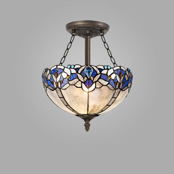Lichfield Lighting Oricle 3 Light Semi Ceiling E27 With 30cm Tiffany Shade, Blue/Clear Crystal/Aged Antique Brass photo 2