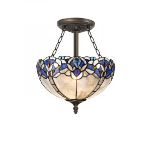 Lichfield Lighting Oricle 3 Light Semi Ceiling E27 With 30cm Tiffany Shade, Blue/Clear Crystal/Aged Antique Brass photo 1