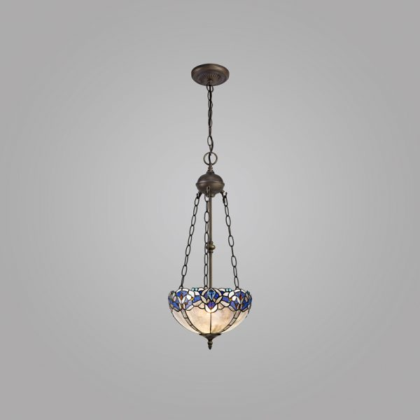 Lichfield Lighting Oricle 2 Light Uplighter Pendant E27 With 30cm Tiffany Shade, Blue/Clear Crystal/Aged Antique Brass photo 2
