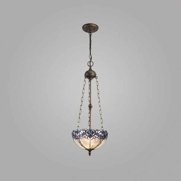 Lichfield Lighting Oricle 3 Light Uplighter Pendant E27 With 30cm Tiffany Shade, Blue/Clear Crystal/Aged Antique Brass photo 2