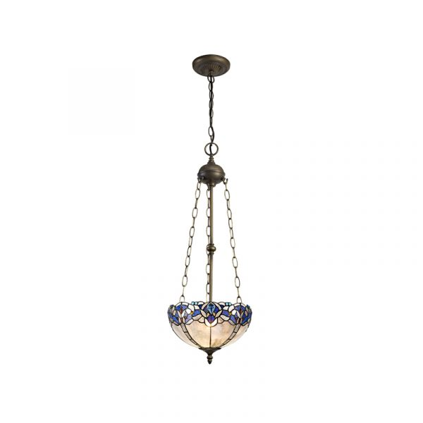 Lichfield Lighting Oricle 3 Light Uplighter Pendant E27 With 30cm Tiffany Shade, Blue/Clear Crystal/Aged Antique Brass photo 1
