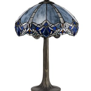 Lichfield Lighting Oricle 2 Light Tree Like Table Lamp E27 With 40cm Tiffany Shade, Blue/Clear Crystal/Aged Antique Brass photo 1