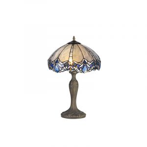 Lichfield Lighting Oricle 2 Light Curved Table Lamp E27 With 40cm Tiffany Shade, Blue/Clear Crystal/Aged Antique Brass photo 1