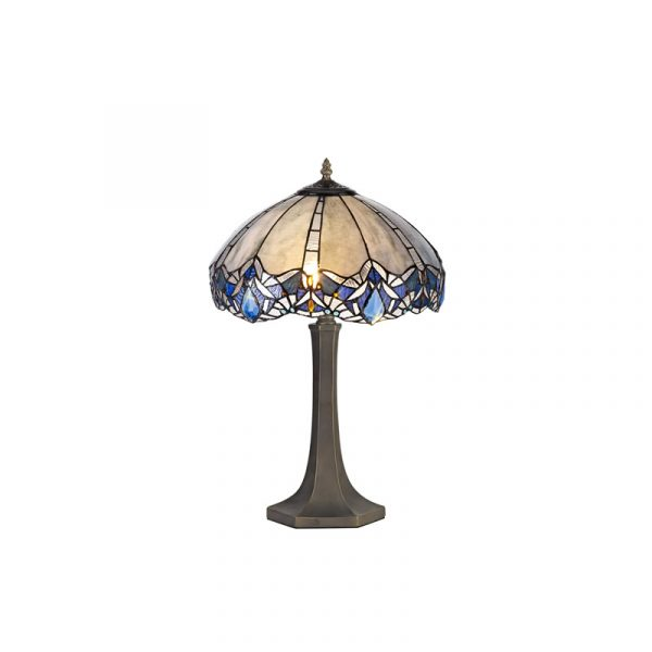 Lichfield Lighting Oricle 2 Light Octagonal Table Lamp E27 With 40cm Tiffany Shade, Blue/Clear Crystal/Aged Antique Brass photo 1