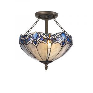 Lichfield Lighting Oricle 3 Light Semi Ceiling E27 With 40cm Tiffany Shade, Blue/Clear Crystal/Aged Antique Brass photo 1