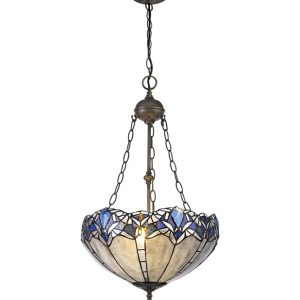 Lichfield Lighting Oricle 2 Light Uplighter Pendant E27 With 40cm Tiffany Shade, Blue/Clear Crystal/Aged Antique Brass photo 1