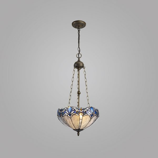 Lichfield Lighting Oricle 3 Light Uplighter Pendant E27 With 40cm Tiffany Shade, Blue/Clear Crystal/Aged Antique Brass photo 2