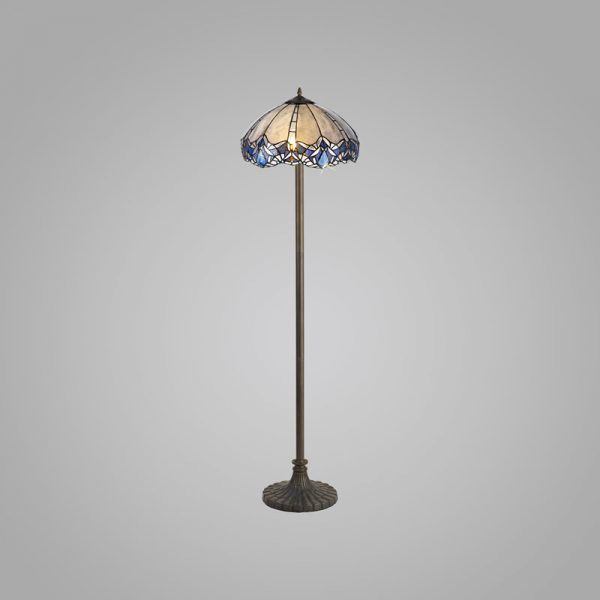 Lichfield Lighting Oricle 2 Light Leaf Design Floor Lamp E27 With 40cm Tiffany Shade, Blue/Clear Crystal/Aged Antique Brass photo 1