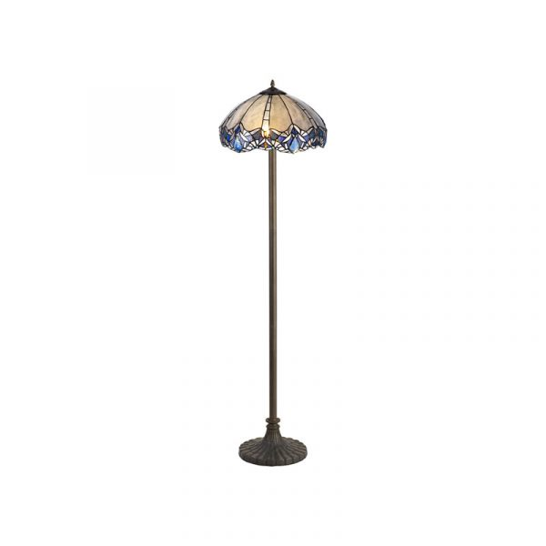 Lichfield Lighting Oricle 2 Light Leaf Design Floor Lamp E27 With 40cm Tiffany Shade, Blue/Clear Crystal/Aged Antique Brass photo 2