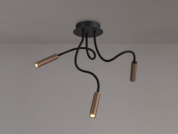 Lichfield Lighting Partridge Ceiling, 3 Light Adjustable Arms, 3 x 5W LED Dimmable, 3000K, 930lm, Black/Satin Copper, 3yrs Warranty photo 4