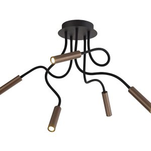 Lichfield Lighting Partridge Ceiling, 5 Light Adjustable Arms, 5 x 5W LED Dimmable, 3000K, 1550lm, Black/Satin Copper, 3yrs Warranty photo 1