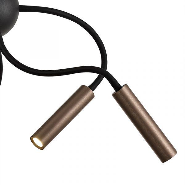 Lichfield Lighting Partridge Sputnik Pendant, 9 Light Adjustable Arms, 9 x 4W LED Dimmable, 3000K, 2250lm, Black/Satin Copper, 3yrs Warranty photo 3