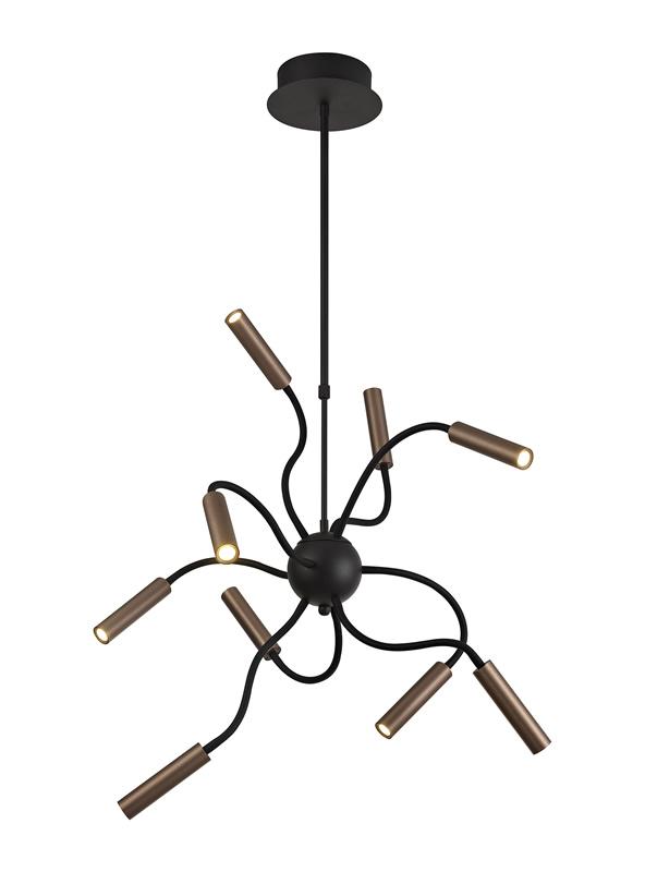 Lichfield Lighting Partridge Sputnik Pendant, 9 Light Adjustable Arms, 9 x 4W LED Dimmable, 3000K, 2250lm, Black/Satin Copper, 3yrs Warranty photo 1