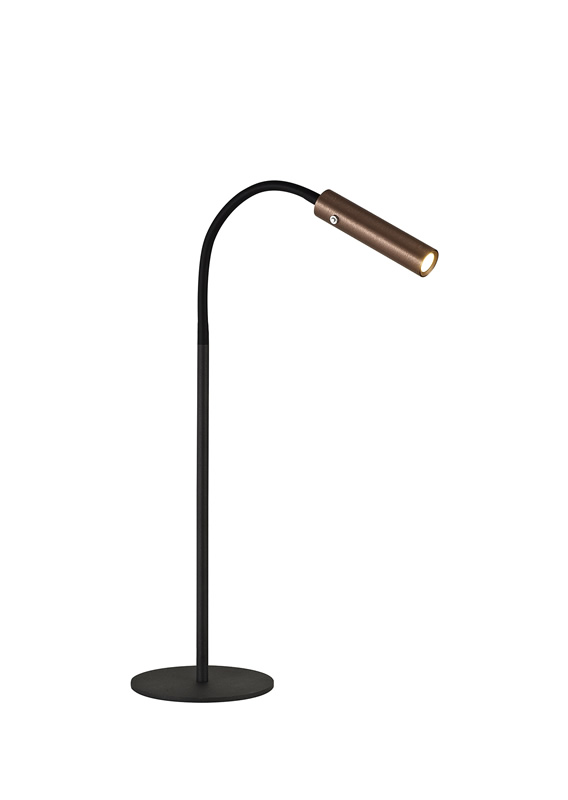 Lichfield Lighting Partridge Table Lamp, 1 Light Adjustable Switched, 1 x 7W LED, 3000K, 436lm, Black/Satin Copper, 3yrs Warranty photo 1