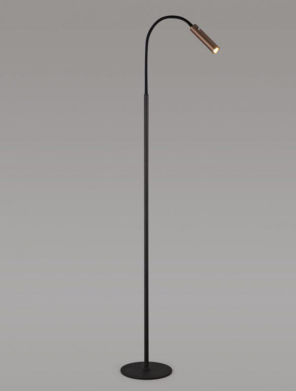Lichfield Lighting Partridge Floor Lamp, 1 Light Adjustable Switched, 1 x 7W LED, 3000K, 436lm, Black/Satin Copper, 3yrs Warranty photo 4