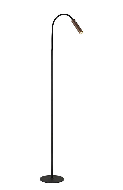 Lichfield Lighting Partridge Floor Lamp, 1 Light Adjustable Switched, 1 x 7W LED, 3000K, 436lm, Black/Satin Copper, 3yrs Warranty photo 1