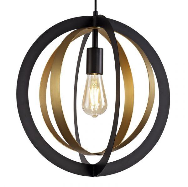 Lichfield Lighting Roman Pendant, 1 x E27, Black/Satin Gold photo 3
