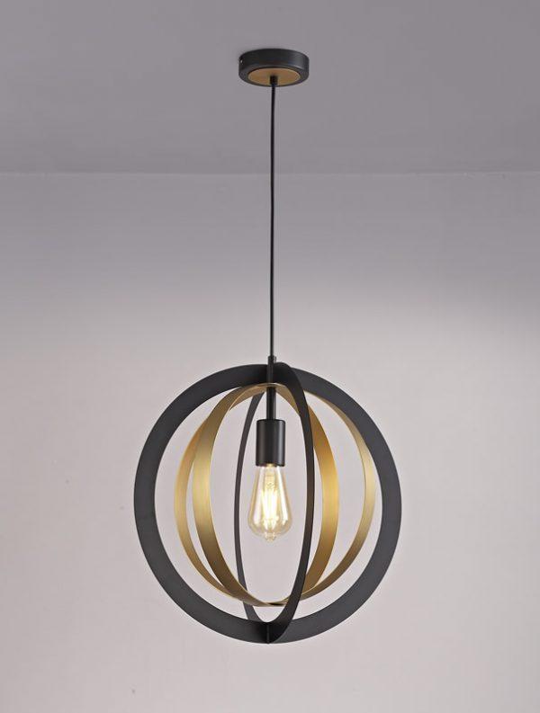 Lichfield Lighting Roman Pendant, 1 x E27, Black/Satin Gold photo 4