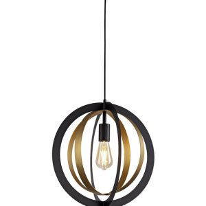 Lichfield Lighting Roman Pendant, 1 x E27, Black/Satin Gold photo 1