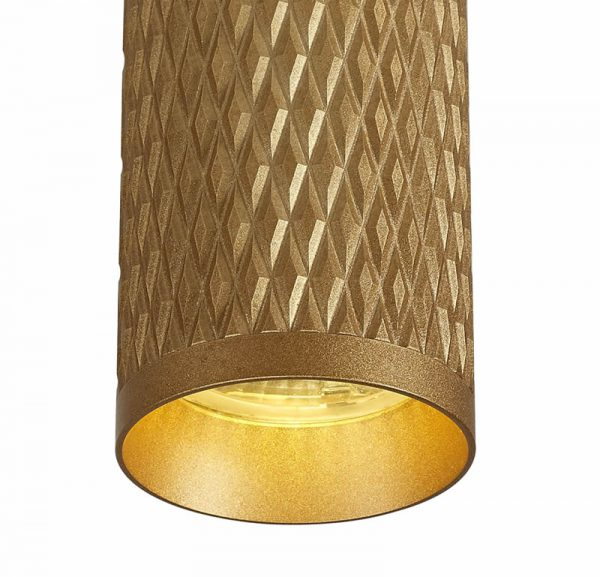 Lichfield Lighting Sandfield 20cm Surface Mounted Ceiling Light, 1 x GU10, Champagne Gold photo 2
