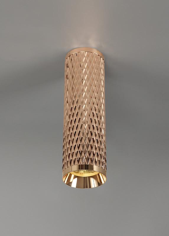Lichfield Lighting Sandfield 20cm Surface Mounted Ceiling Light, 1 x GU10, Rose Gold photo 4
