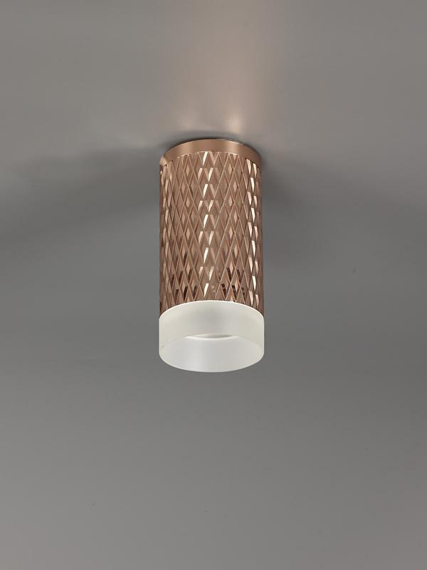 Lichfield Lighting Sandfield 1 Light 11cm Surface Mounted Ceiling GU10, Rose Gold/Acrylic Ring photo 2