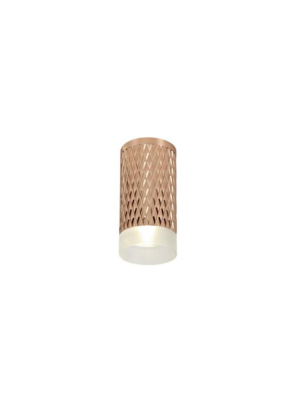 Lichfield Lighting Sandfield 1 Light 11cm Surface Mounted Ceiling GU10, Rose Gold/Acrylic Ring photo 1