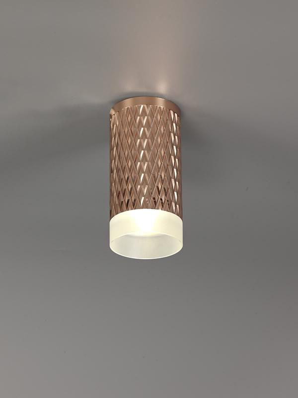 Lichfield Lighting Sandfield 1 Light 11cm Surface Mounted Ceiling GU10, Rose Gold/Acrylic Ring photo 3