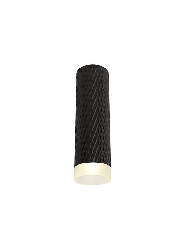 Lichfield Lighting Sandfield 1 Light 20cm Surface Mounted Ceiling GU10, Sand Black/Acrylic Ring photo 1