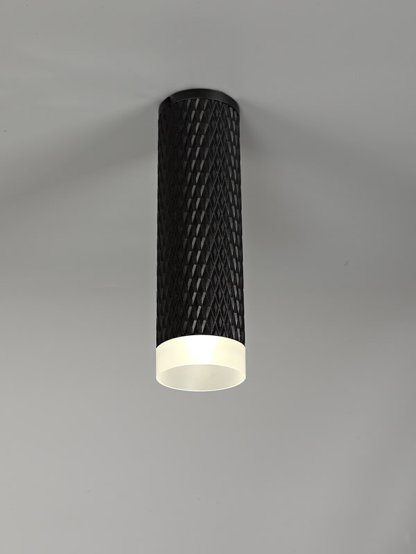 Lichfield Lighting Sandfield 1 Light 20cm Surface Mounted Ceiling GU10, Sand Black/Acrylic Ring photo 2