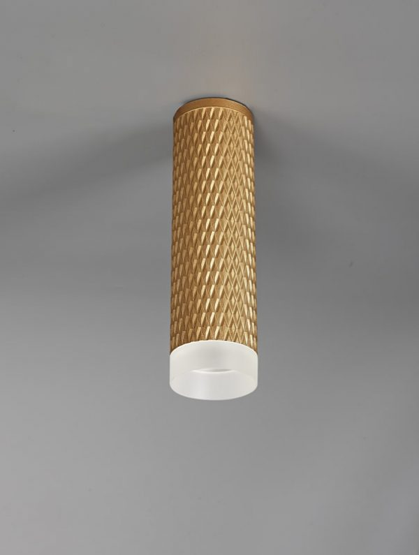 Lichfield Lighting Sandfield 1 Light 20cm Surface Mounted Ceiling GU10, Champagne Gold/Acrylic Ring photo 2