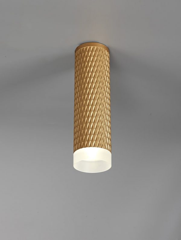 Lichfield Lighting Sandfield 1 Light 20cm Surface Mounted Ceiling GU10, Champagne Gold/Acrylic Ring photo 3