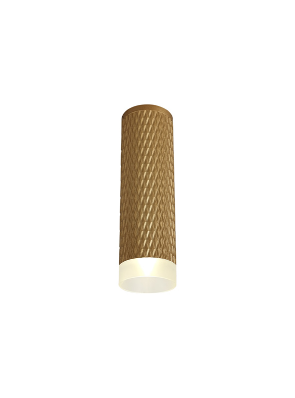 Lichfield Lighting Sandfield 1 Light 20cm Surface Mounted Ceiling GU10, Champagne Gold/Acrylic Ring photo 1