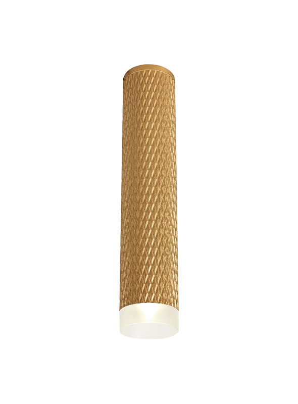 Lichfield Lighting Sandfield 1 Light 30cm Surface Mounted Ceiling GU10, Champagne Gold/Acrylic Ring photo 1