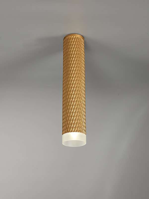 Lichfield Lighting Sandfield 1 Light 30cm Surface Mounted Ceiling GU10, Champagne Gold/Acrylic Ring photo 3