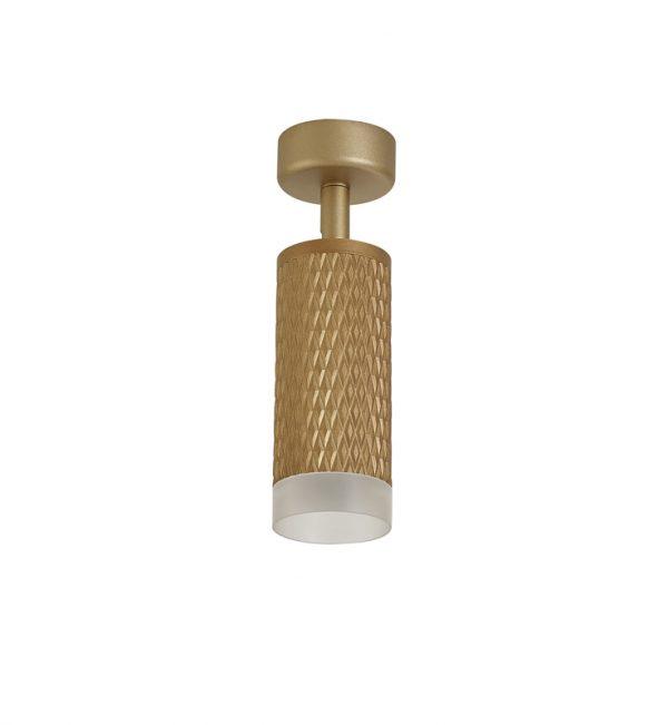Lichfield Lighting Sandfield 1 Light Surface Mounted Spotlight GU10, Champagne Gold/Acrylic Ring photo 1