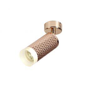 Lichfield Lighting Sandfield 1 Light Surface Mounted Spotlight GU10, Rose Gold/Acrylic Ring photo 1