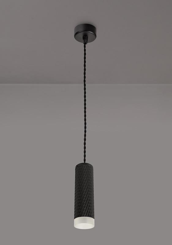 Lichfield Lighting Sandfield 1 Light 20cm Pendant Light GU10, Sand Black/Acrylic Ring photo 2
