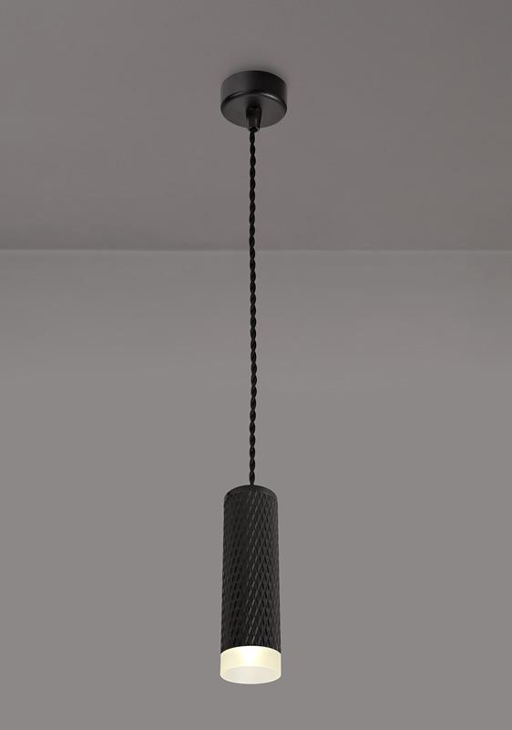 Lichfield Lighting Sandfield 1 Light 20cm Pendant Light GU10, Sand Black/Acrylic Ring photo 3