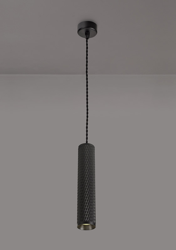 Lichfield Lighting Sandfield 1 Light 30cm Pendant Light GU10, Sand Black photo 3