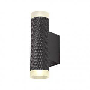 Lichfield Lighting Sandfield 2 Light Wall Lamp GU10, Sand Black/Acrylic Rings photo 1