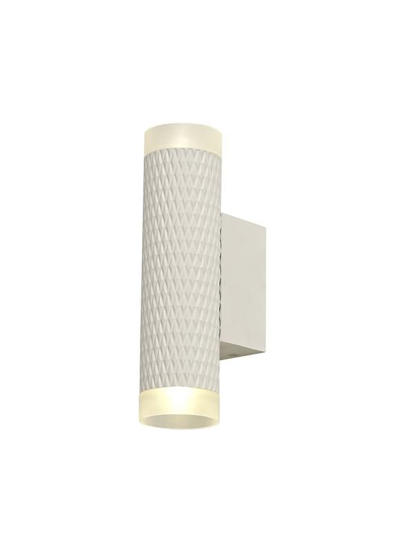 Lichfield Lighting Sandfield 2 Light Wall Lamp GU10, Sand White/Acrylic Rings photo 1