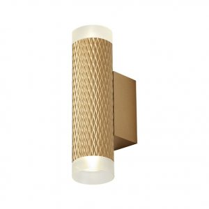 Lichfield Lighting Sandfield 2 Light Wall Lamp GU10, Champagne Gold/Acrylic Rings photo 1