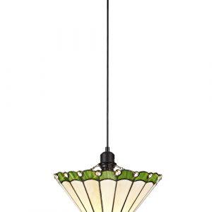 Lichfield Lighting St John 1 Light Uplighter Pendant E27 With 30cm Tiffany Shade, Green/Credlock/Crystal/Black photo 1