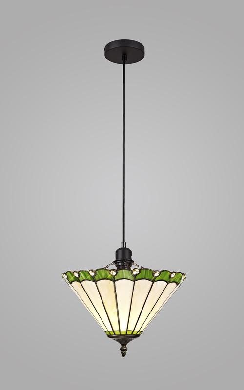 Lichfield Lighting St John 1 Light Uplighter Pendant E27 With 30cm Tiffany Shade, Green/Credlock/Crystal/Black photo 2