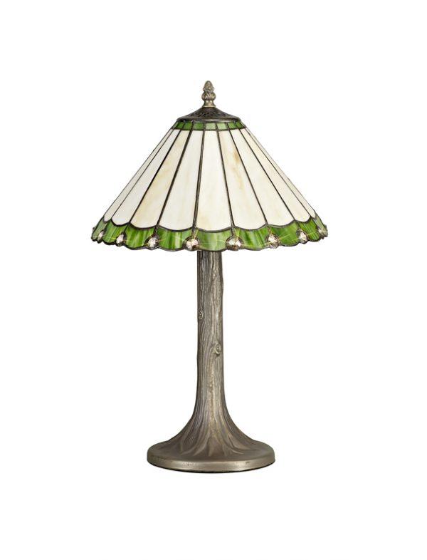 Lichfield Lighting St John 1 Light Tree Like Table Lamp E27 With 30cm Tiffany Shade, Green/Credlock/Crystal/Aged Antique Brass photo 1