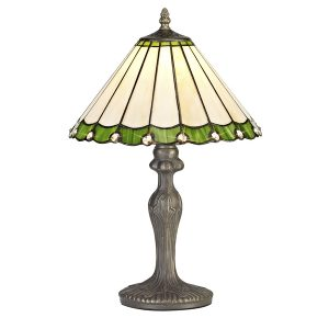 Lichfield Lighting St John 1 Light Curved Table Lamp E27 With 30cm Tiffany Shade, Green/Credlock/Crystal/Aged Antique Brass photo 1